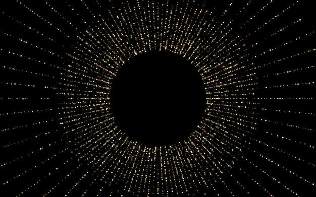Fundo preto rico do respingo amarelo. glamour dot banner. convite de luz círculo de ouro. ilustração isolada rodada.