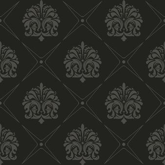 Fundo preto sem costura, padrão de vetor de estilo antigo