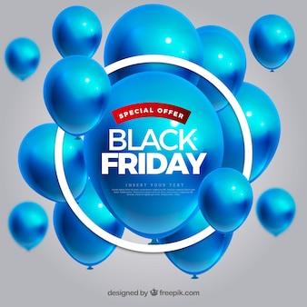 Fundo preto sexta-feira com balões azuis