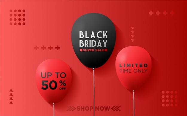 Fundo preto sexta-feira com balões