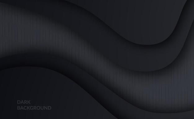 Fundo preto simples com detalhes de textura de tecido têxtil cinza e gradiente polido para um fundo de luxo elegante