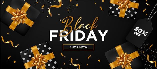 Fundo preto super venda sexta-feira com composição de presente