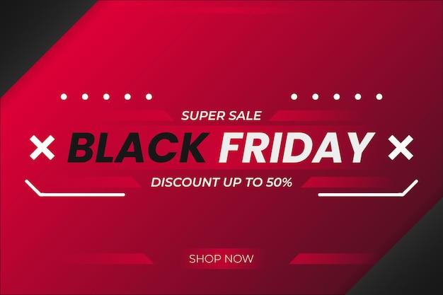 Fundo preto super venda sexta-feira com forma abstrata e desenho vetorial gradiente vermelho escuro