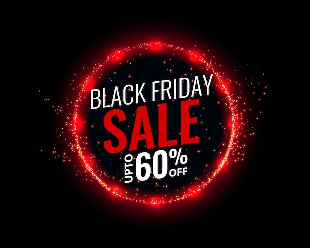 Fundo preto venda sexta-feira com efeito de luzes vermelhas