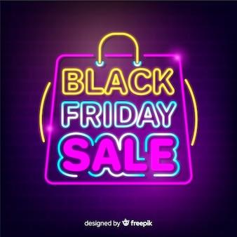 Fundo preto venda sexta-feira com estilo de néon