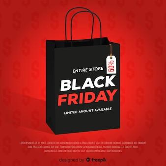 Fundo preto venda sexta-feira com sacola de compras