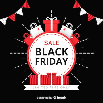 Fundo preto venda sexta-feira com sacos de presente