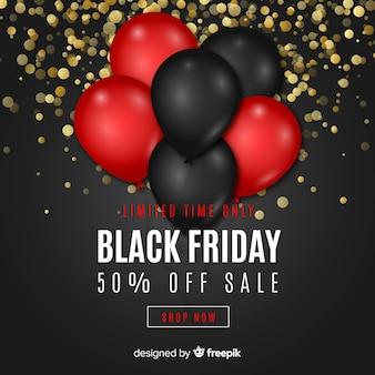 Fundo preto vendas de sexta-feira com balões e glitter