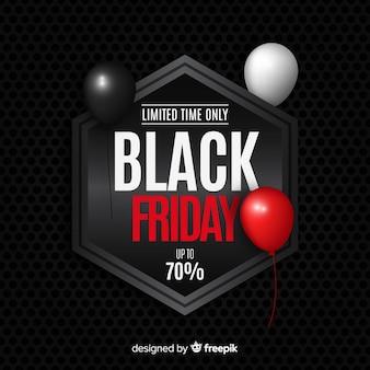 Fundo preto vendas de sexta-feira com balões