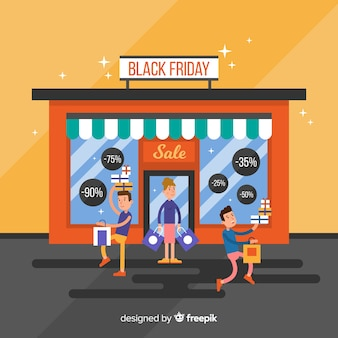 Fundo preto vendas de sexta-feira com loja de frente