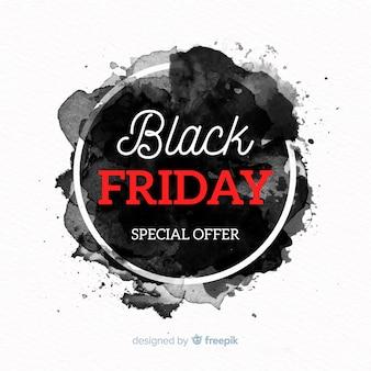 Fundo preto vendas de sexta-feira com manchas de aquarela