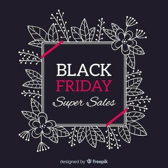 Fundo preto vendas de sexta-feira com quadro foral