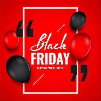 Fundo preto vermelho de venda sexta-feira com balões