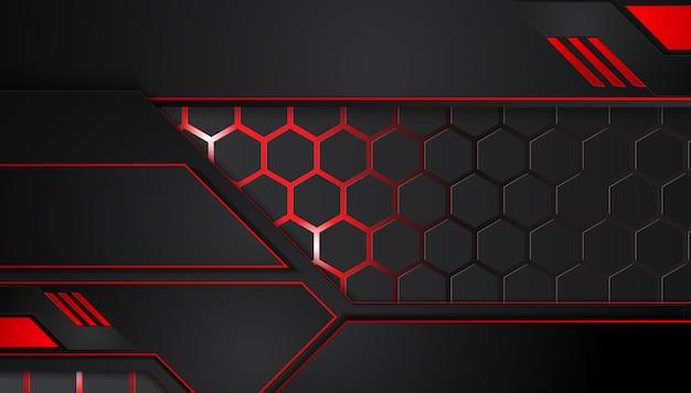Fundo preto vermelho metálico abstrato com listras do contraste. conceito de inovação de tecnologia gráfica de vetor abstrato