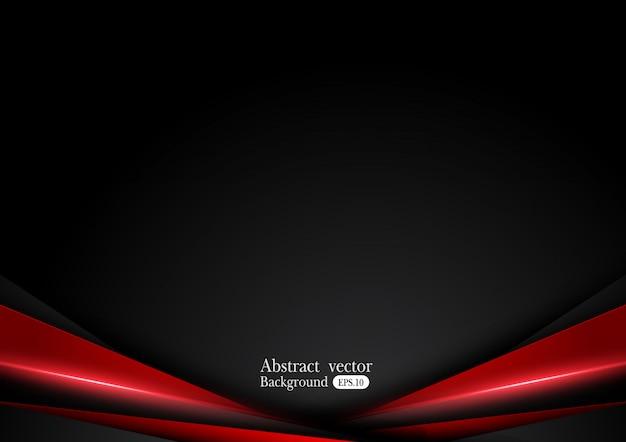Fundo preto vermelho metálico abstrato com listras do contraste.