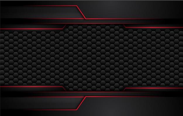 Fundo preto vermelho metálico abstrato do conceito da inovação da tecnologia do projeto.