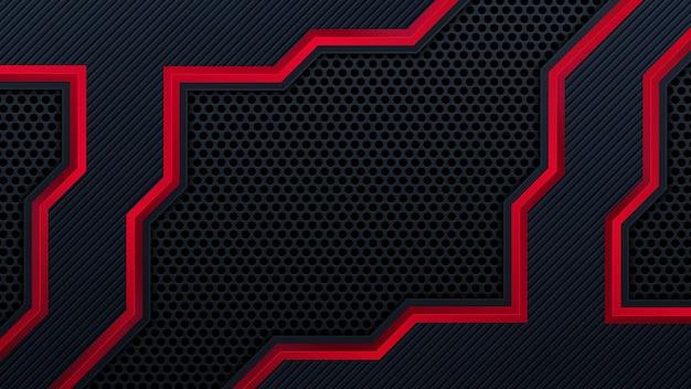 Fundo preto vermelho moderno com efeito de camadas de sobreposição 3d. elementos de design gráfico.