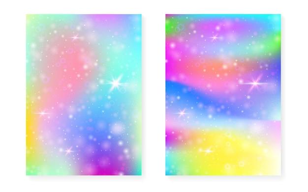 Fundo princesa com gradiente de arco-íris kawaii. unicórnio mágico