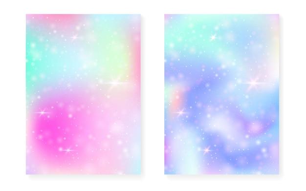 Fundo princesa com gradiente de arco-íris kawaii.