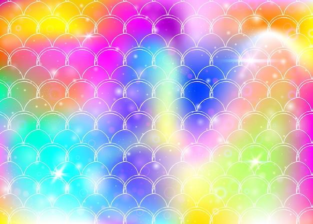Fundo princesa sereia com padrão de escalas de arco-íris