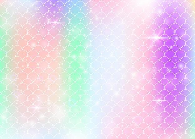Fundo princesa sereia com padrão de escalas do arco-íris kawaii.