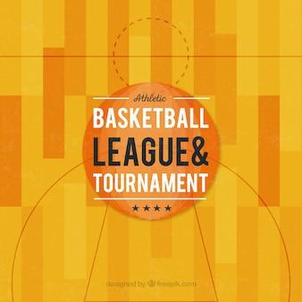 Fundo quadra de basquete no design plano