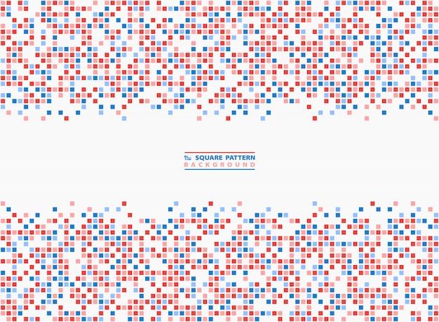 Fundo quadrado abstrato azul e vermelho contraste pixel