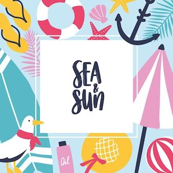 Fundo quadrado colorido com atributos de verão e lugar para texto no centro.