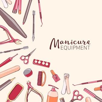 Fundo quadrado com equipamento de manicure.