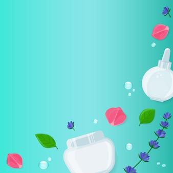 Fundo quadrado de beleza com frascos de cosméticos faciais, folhas, flores de lavanda e flor rosa.