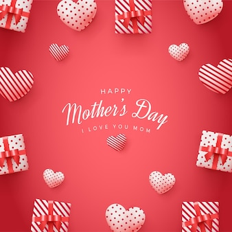 Fundo quadrado do dia das mães com caixas de presente 3d e balões de amor.