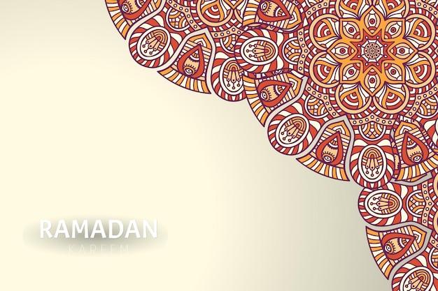 Fundo ramadam kareem com enfeites de mandala