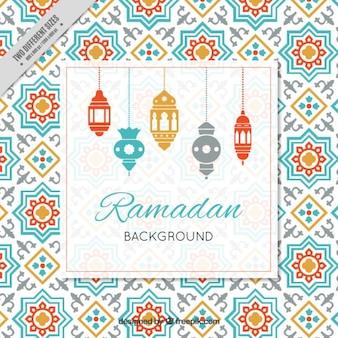Fundo ramadan com lâmpadas árabe