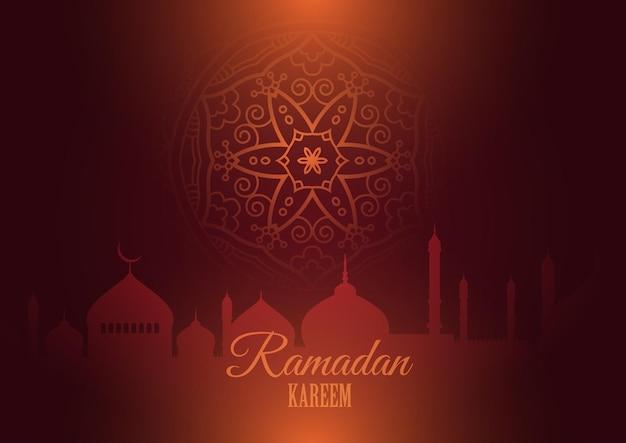 Fundo ramadan kareem com silhuetas de mesquita e desenho de mandala