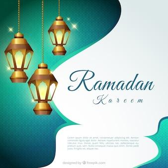 Fundo, ramadan, kareem, lanternas, iluminado