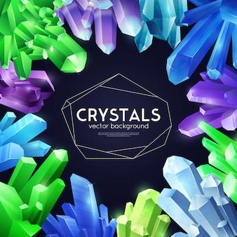 Fundo realista colorido de cristais