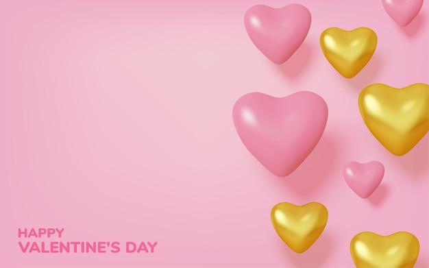 Fundo realista com corações rosa e dourado
