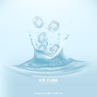 Fundo realista com cubos de gelo e respingos de água