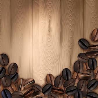 Fundo realista com grãos de café torrados na ilustração vetorial de superfície de madeira
