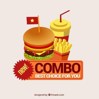 Fundo realista com hambúrguer, bebida e batatas fritas