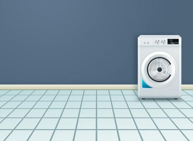Fundo realista com moderna máquina de lavar roupa na lavanderia vazia