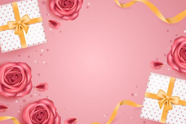 Fundo realista com rosas e presentes
