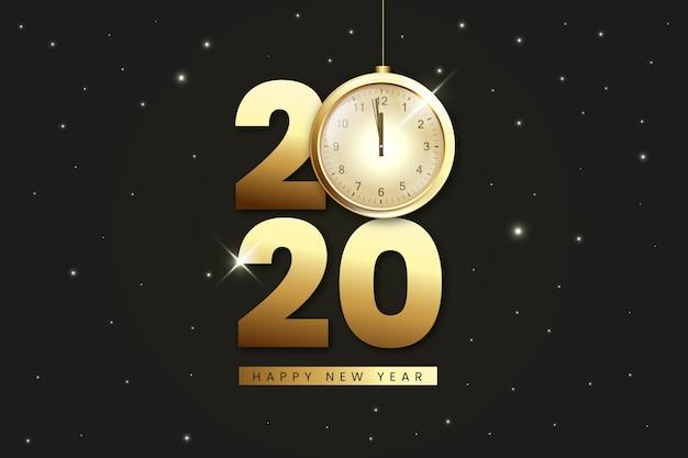 Fundo realista da meia-noite relógio dourado