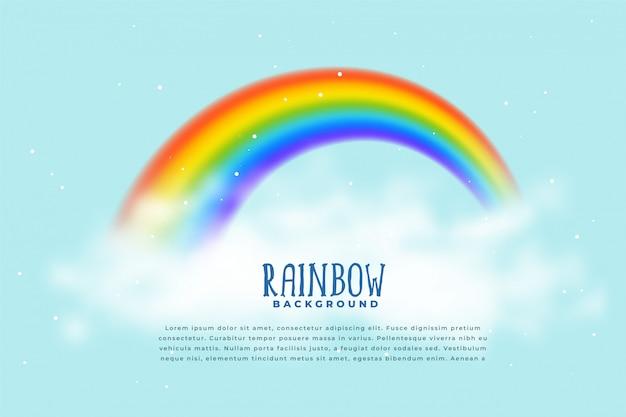 Fundo realista de arco-íris e nuvens