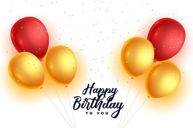 Fundo realista de balões de feliz aniversário