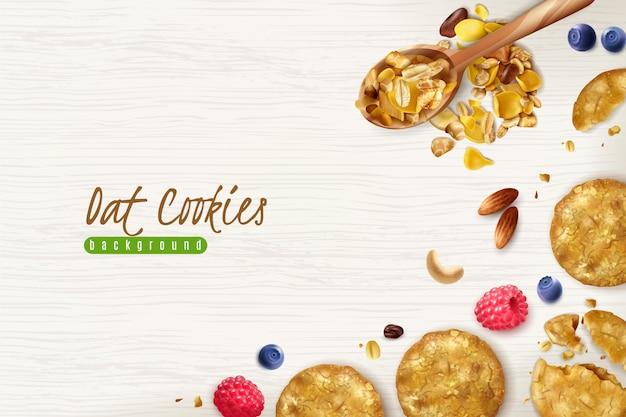 Fundo realista de biscoitos de aveia com flocos de aveia espalhados grãos e ilustração de frutas frescas
