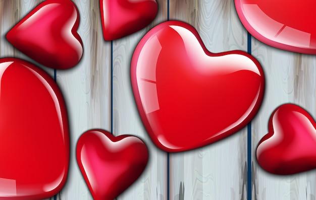 Fundo realista de corações vermelhos