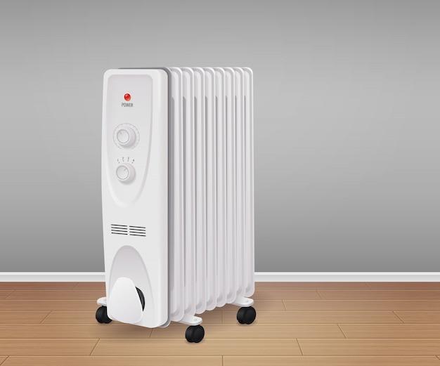 Fundo realista de equipamento de controle climático com ilustração de símbolos de tecnologia de aquecimento