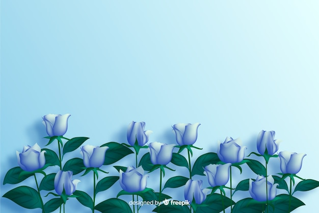 Fundo realista de flores azuis