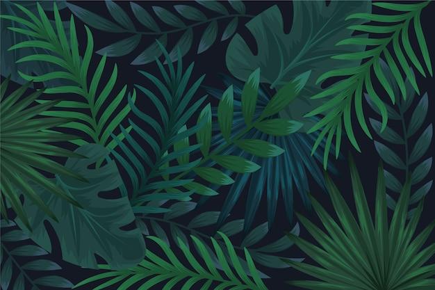 Fundo realista de folhas tropicais escuras